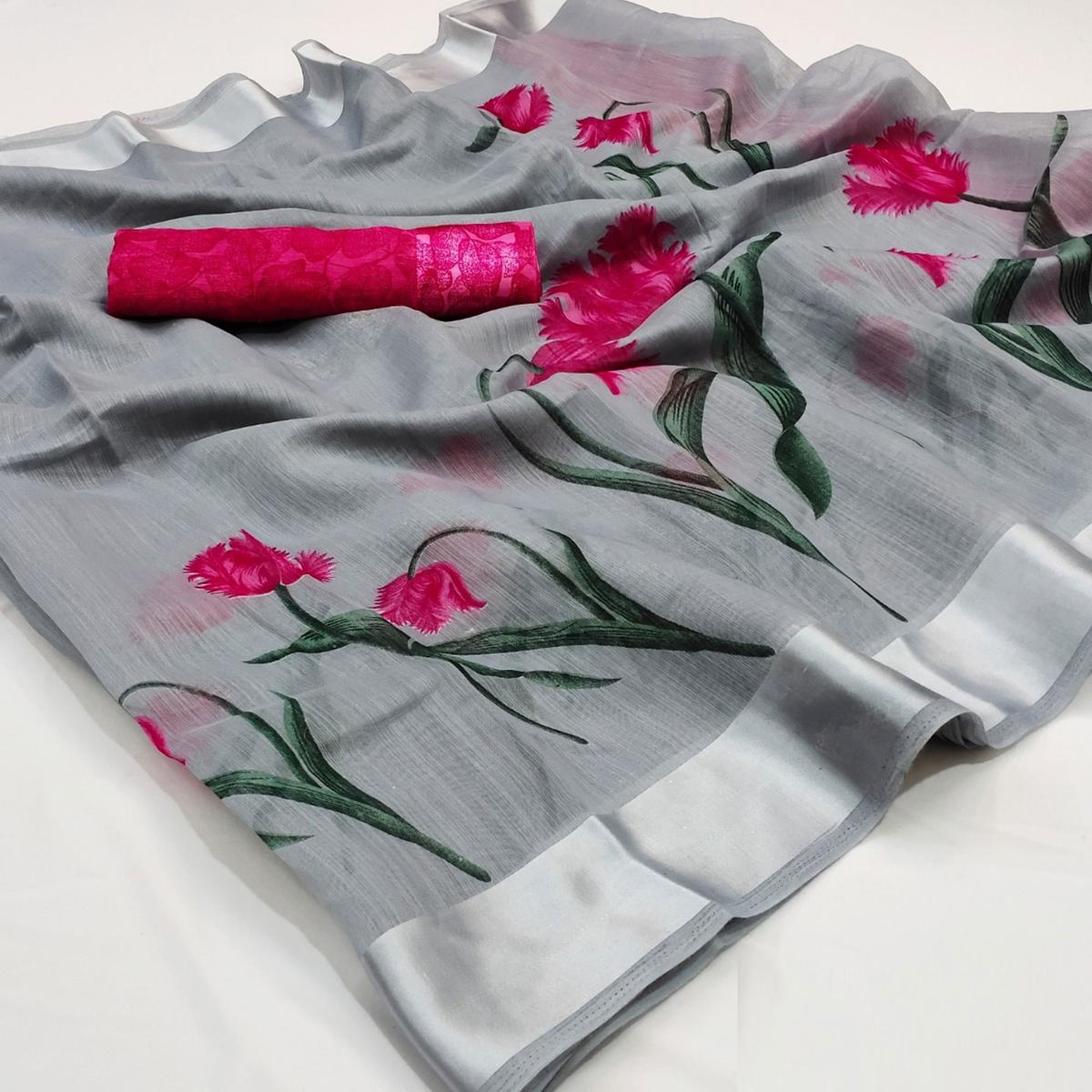 Magnetic Grey Colored Casual Wear Floral Printed Cotton Linen Saree