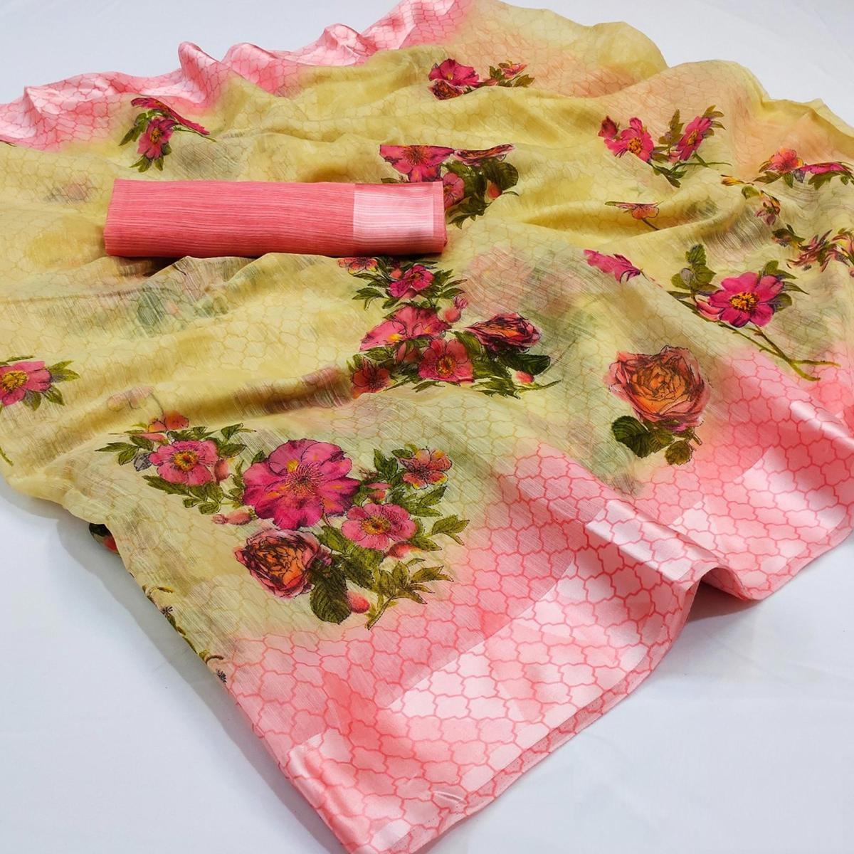 Hypnotic Yellow Colored Casual Wear Floral Printed Cotton Linen Saree