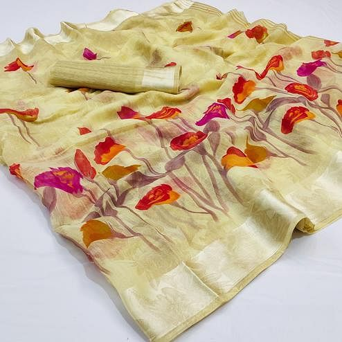 Flattering Pastel Yellow Colored Casual Wear Floral Printed Cotton Linen Saree