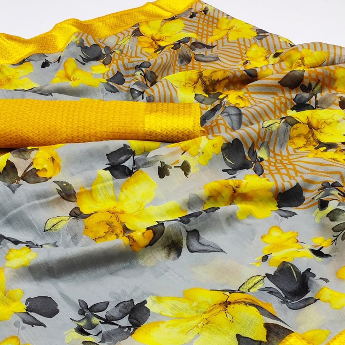 Excellent Light Grey - Yellow Colored Casual Wear Floral Printed Cotton Linen Saree