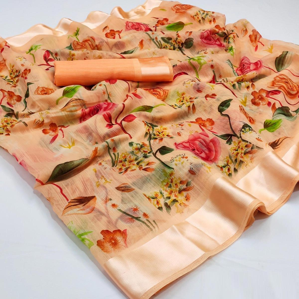 Preferable Peach Colored Casual Wear Floral Printed Cotton Linen Saree