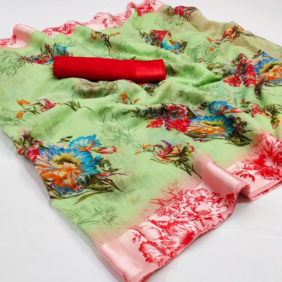 Marvellous Green Colored Casual Wear Floral Printed Cotton Linen Saree