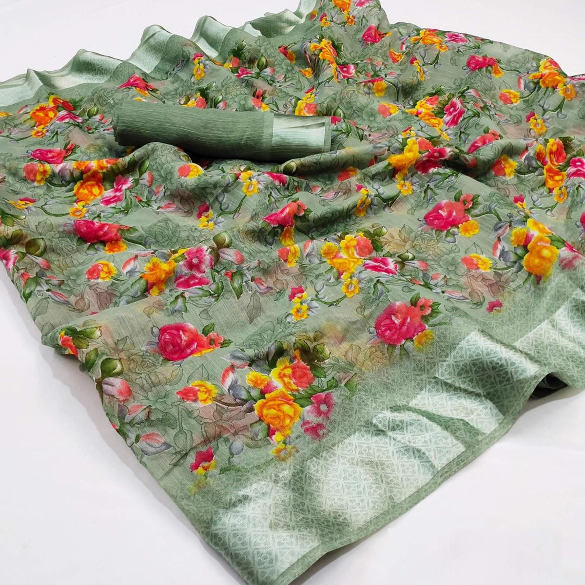 Pretty Olive Green Colored Casual Wear Floral Printed Cotton Linen Saree