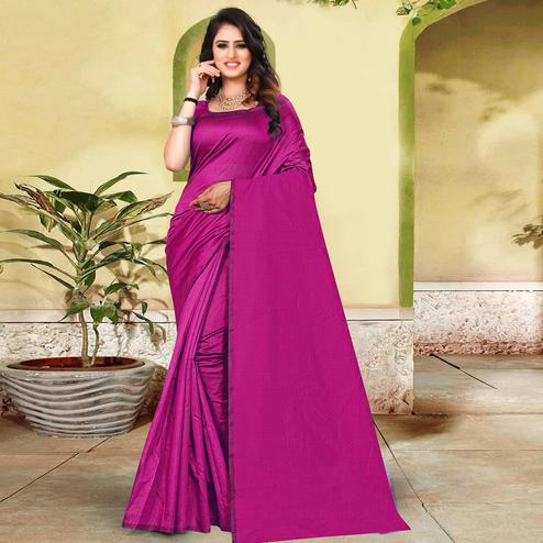 Alluring Purple Colored Partywear Solid Cotton Silk Saree
