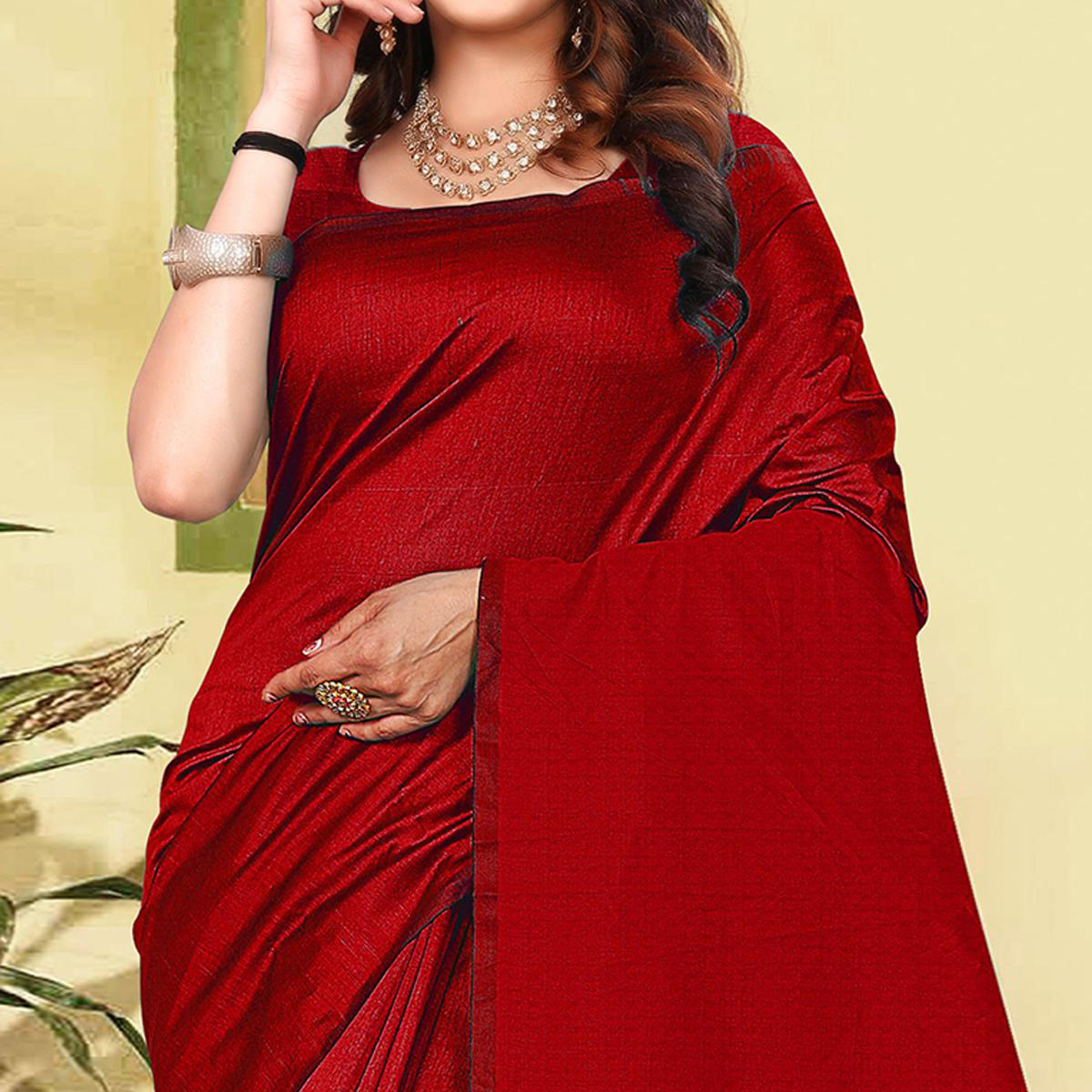 Sensational Red Colored Partywear Solid Cotton Silk Saree