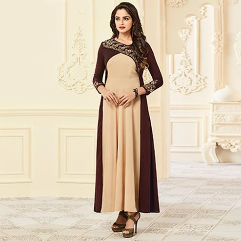 Elegant Beige And Brown Designer Partywear Embroidered Premium Rayon Gown