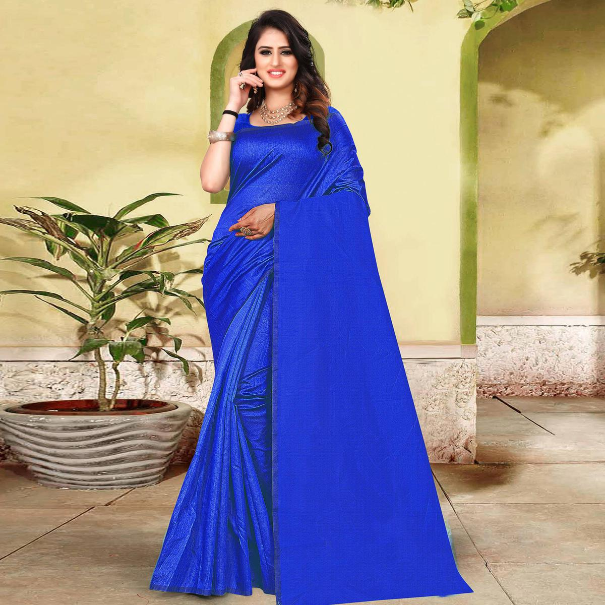 Stunning Royal Blue Colored Partywear Solid Cotton Silk Saree