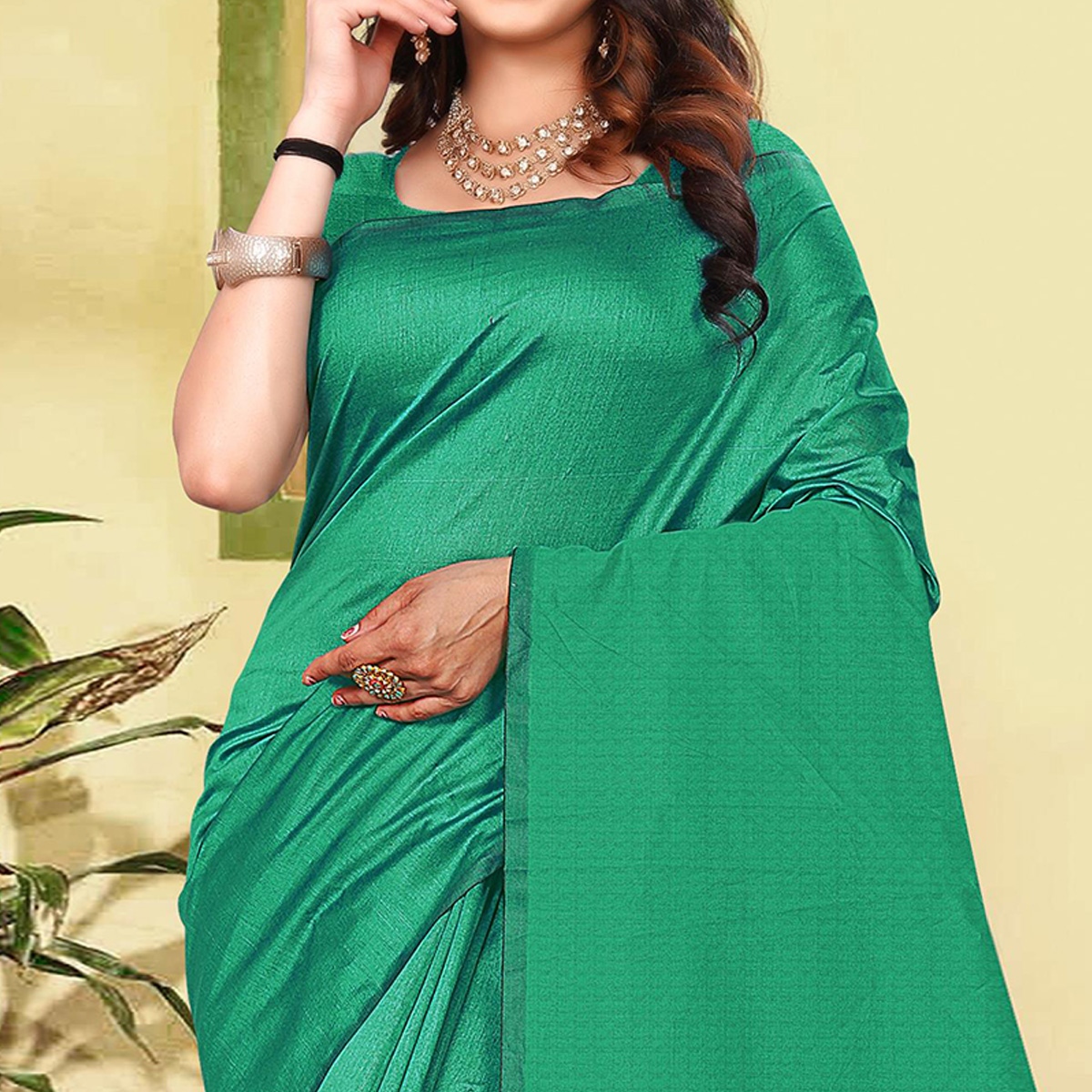 Classy Turquoise Green Colored Partywear Solid Cotton Silk Saree