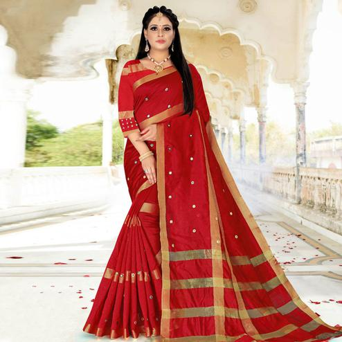 Entrancing Red Colored Festive Wear Woven Cotton Silk Saree