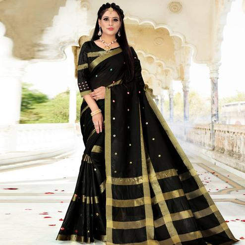 Groovy Black Colored Festive Wear Woven Cotton Silk Saree