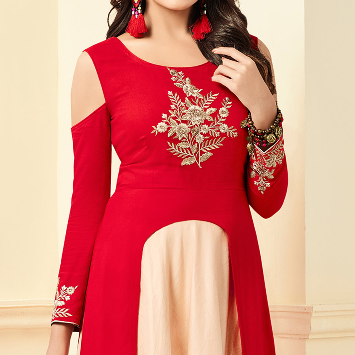 Hot Red Designer Partywear Embroidered Premium Rayon Gown
