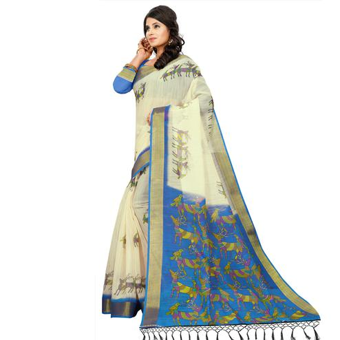 Exclusive Cream - Blue Colored Casual Wear Digital Printed Cotton Saree