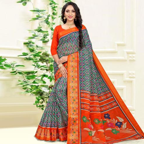 Glorious Navy Blue Colored Casual Wear Printed Cotton Linen Blend Saree