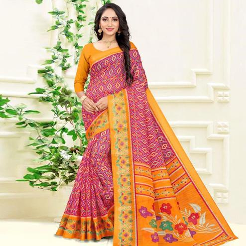 Blooming Purple Colored Casual Wear Printed Cotton Linen Blend Saree