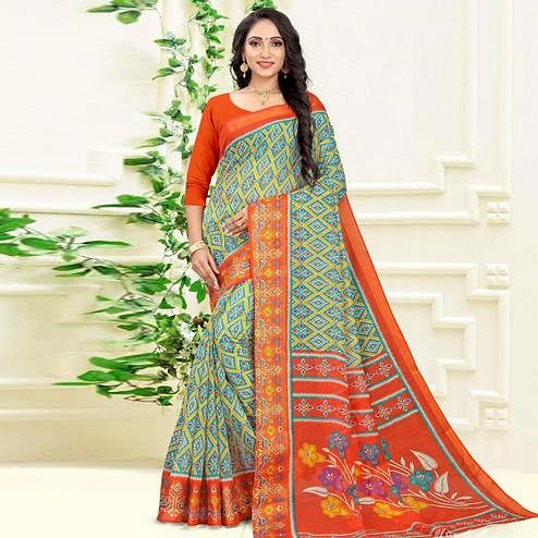 Jazzy Green Colored Casual Wear Printed Cotton Linen Blend Saree