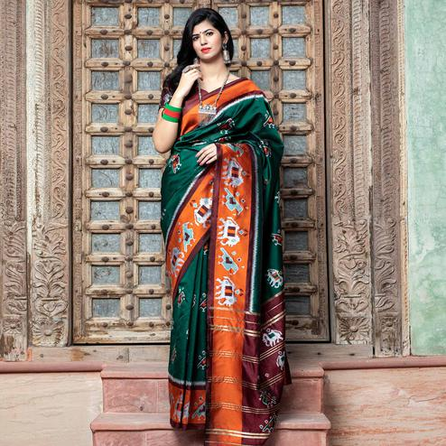 Fantastic Green Colored Festive Wear Woven Patola Silk Saree