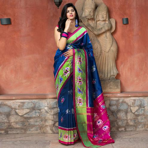Gorgeous Royal Blue Colored Festive Wear Woven Patola Silk Saree
