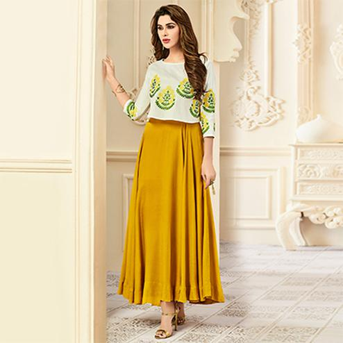 Ravishing White-Yellow Designer Partywear Embroidered Premium Rayon Gown