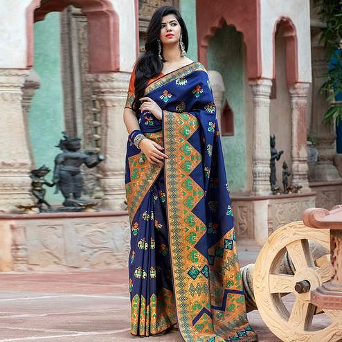 Lovely Navy Blue Colored Festive Wear Woven Patola Silk Saree