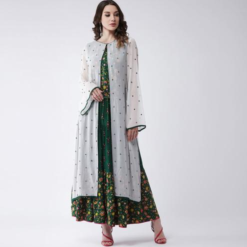 Pannkh - Women's Green Colored Mughal Printed Rayon Top With Skirt And Embroidered Shrug