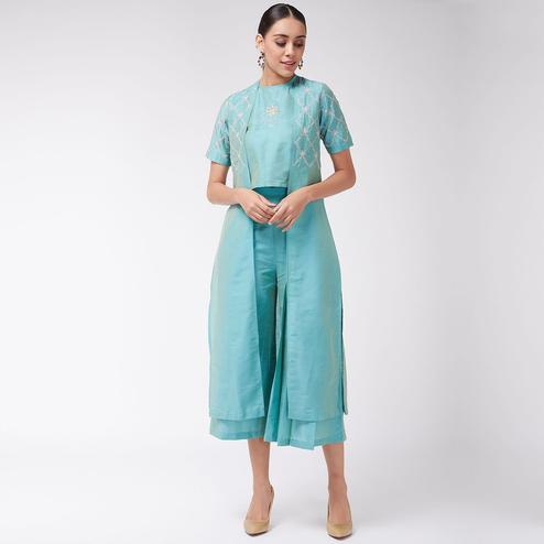 Pannkh - Women's Green Colored Fusion Set With Poly Viscose Top And Pleated Pants With Embroidered Jacket