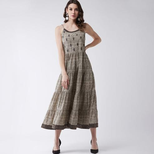 Pannkh - Women's Beige Colored Printed Tiered Dress With Embroidery