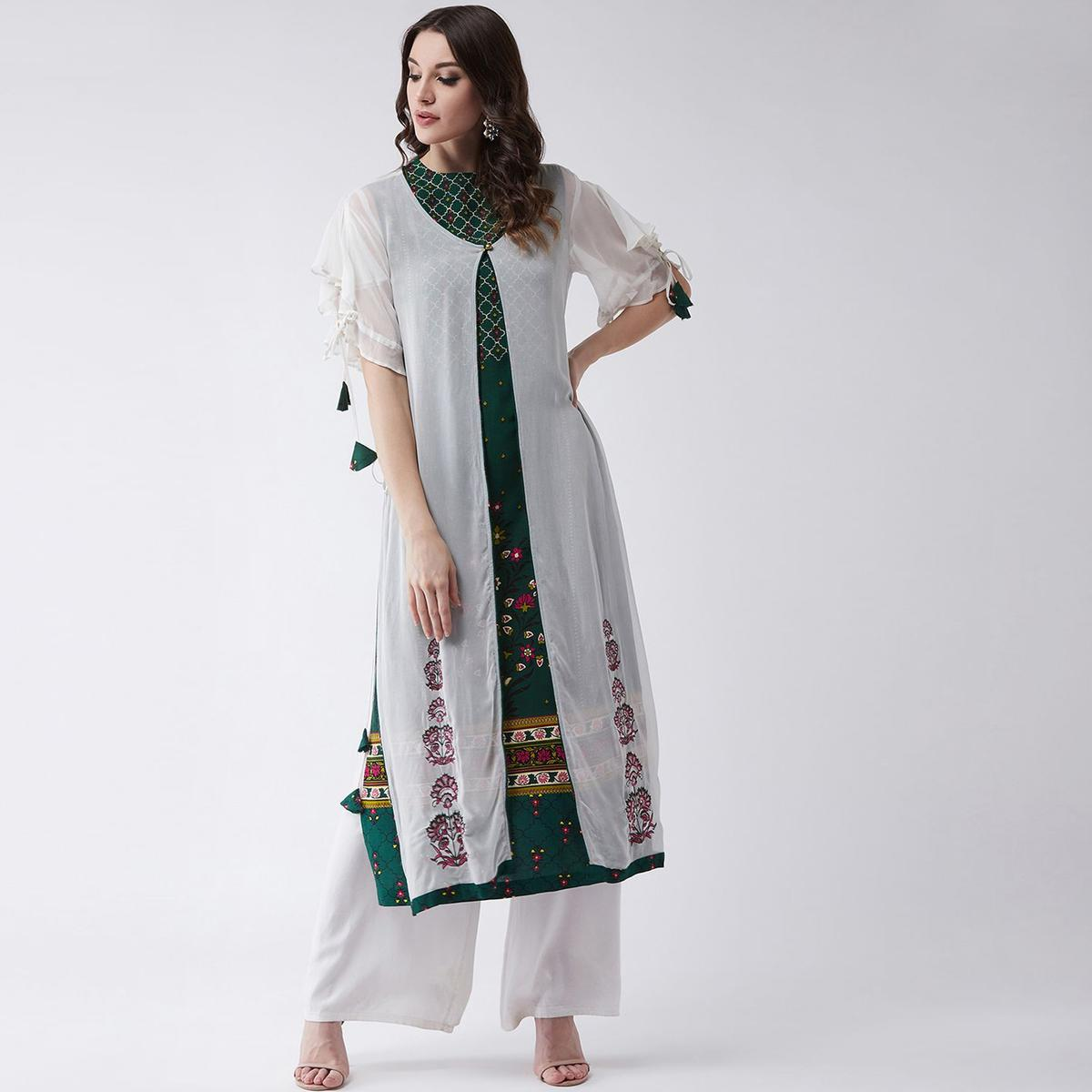 Pannkh - Women's Green Colored Mughal Rayon Kurti With Embroidered Shrug