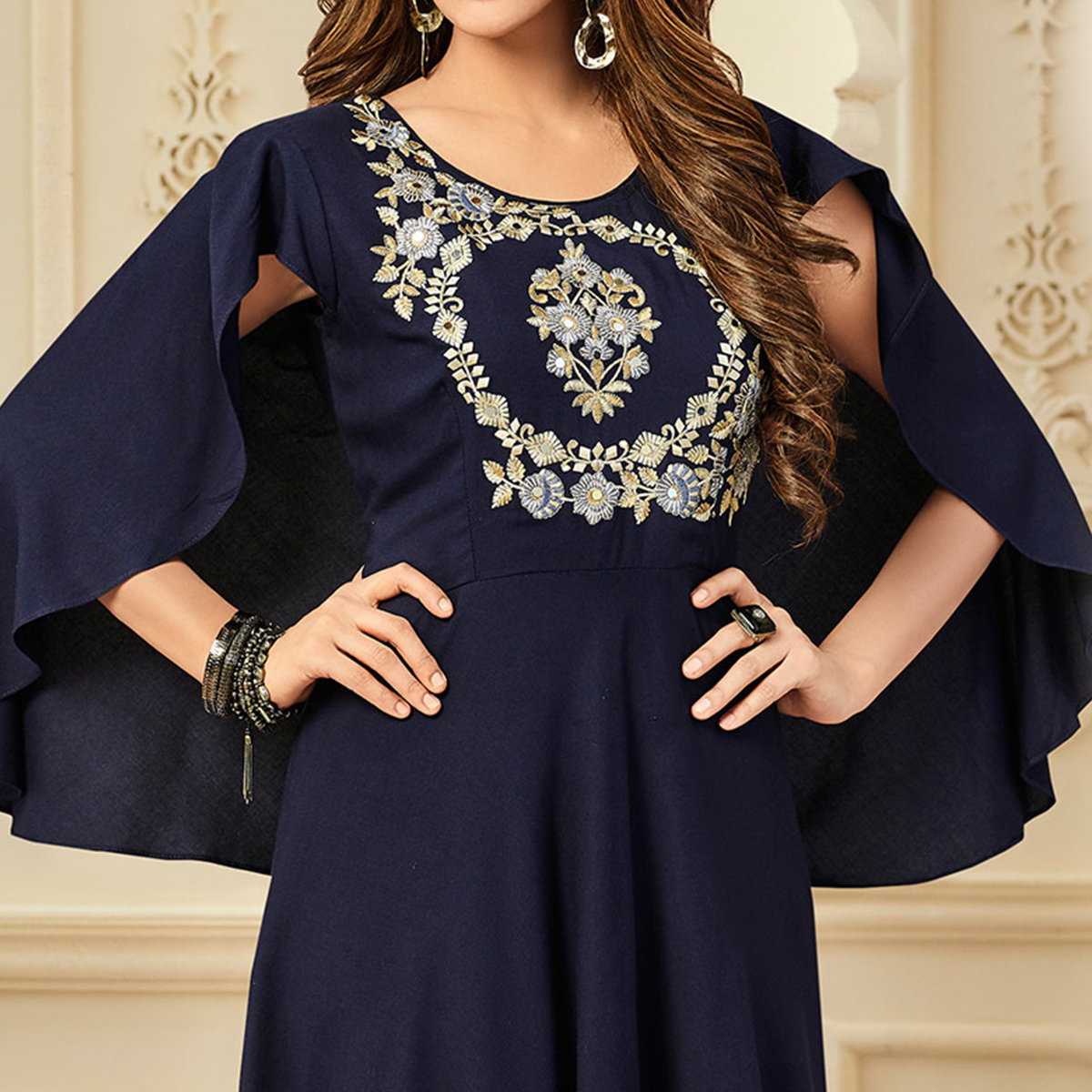 Mesmerising Navy Blue Designer Partywear Embroidered Premium Rayon Gown