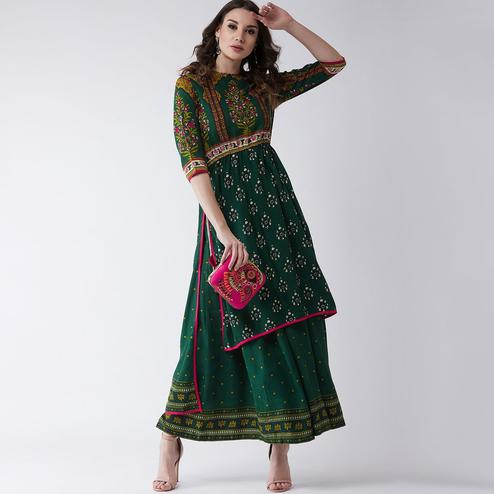 Pannkh - Women's Green Colored Mughal Printed Rayon High-low Kurti With Front Dori