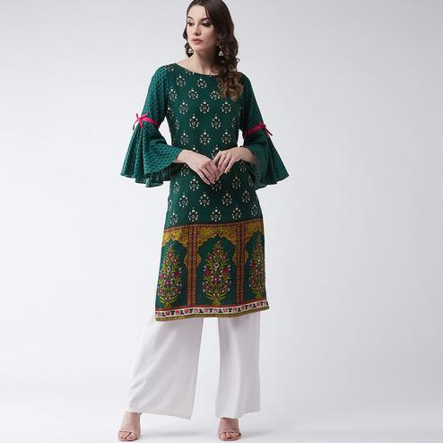 Pannkh - Women's Green Colored Mughal Printed Bell Sleeves Rayon Kurti