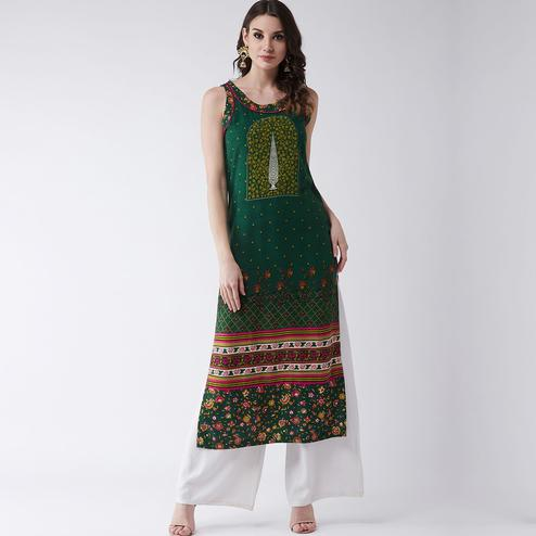 Pannkh - Women's Green Colored Mughal Printed Sleeveless Rayon Kurti