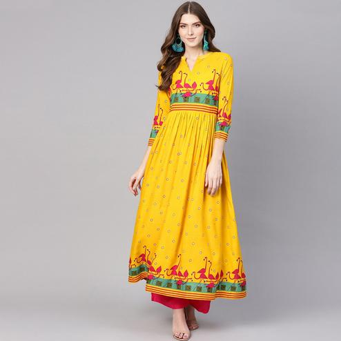Pannkh - Women's Yellow Colored Gathered Flamingo Rayon Long Kurti