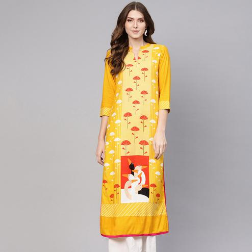 Pannkh - Women's Yellow Colored Allover Flamingo Printed Rayon Straight Kurti