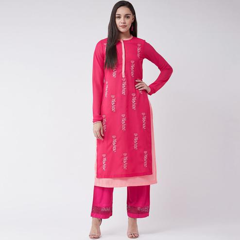 Pannkh - Women's Pink Colored Allover Embroidered Polyester Layered Kurti