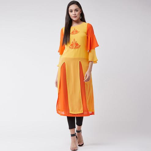 Pannkh - Women's Yellow Colored Embroidered Polyester Layered Kurti With Bell Sleeves And Front Slits