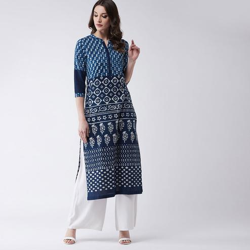 Pannkh - Women's Navy Blue Colored Printed Cotton Straight Fit Kurti