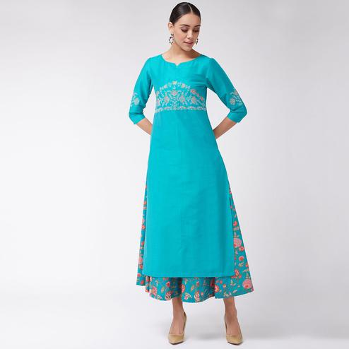 Pannkh - Women's Green Colored Embroidered 3/4Th Sleeves Semi-festive Poly Viscose Kurti