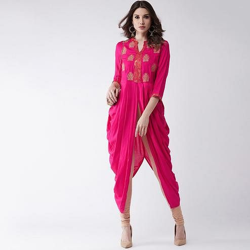Pannkh - Women's Pink Colored Embroidered Rayon Cowl Kurti