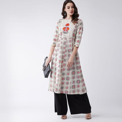 Pannkh - Women's Beige Colored Embroidered Cotton Flared Kurti