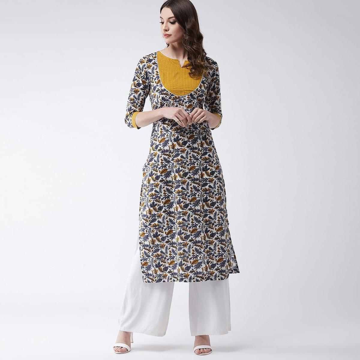 Pannkh - Women's Multicolor Colored Printed Cotton Kurti With Solid Yoke