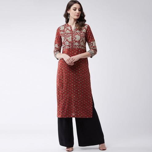 Pannkh - Women's Red Colored Printed Cotton Kurti With Mirror Work