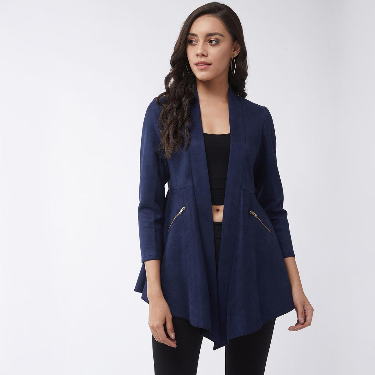 Pannkh - Women's Navy Blue Colored Solid A-line Side Zipper Polyester Shrug
