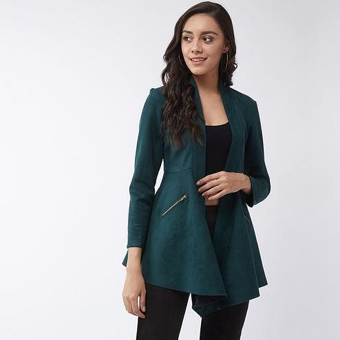 Pannkh - Women's Green Colored Solid A-line Side Zipper Polyester Shrug