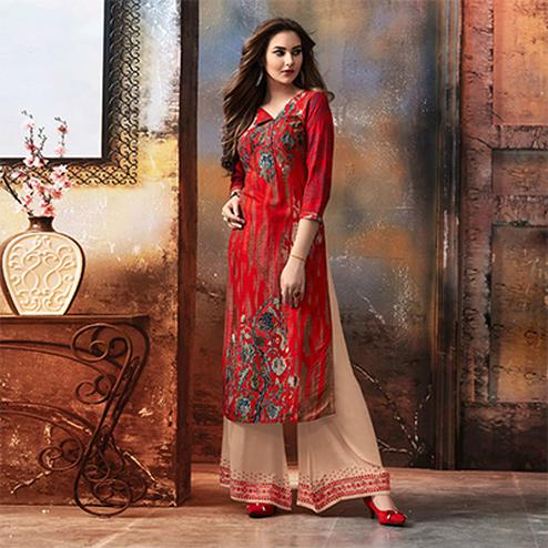 Hot Red Designer Embroidered & Printed Rayon Palazzo Suit