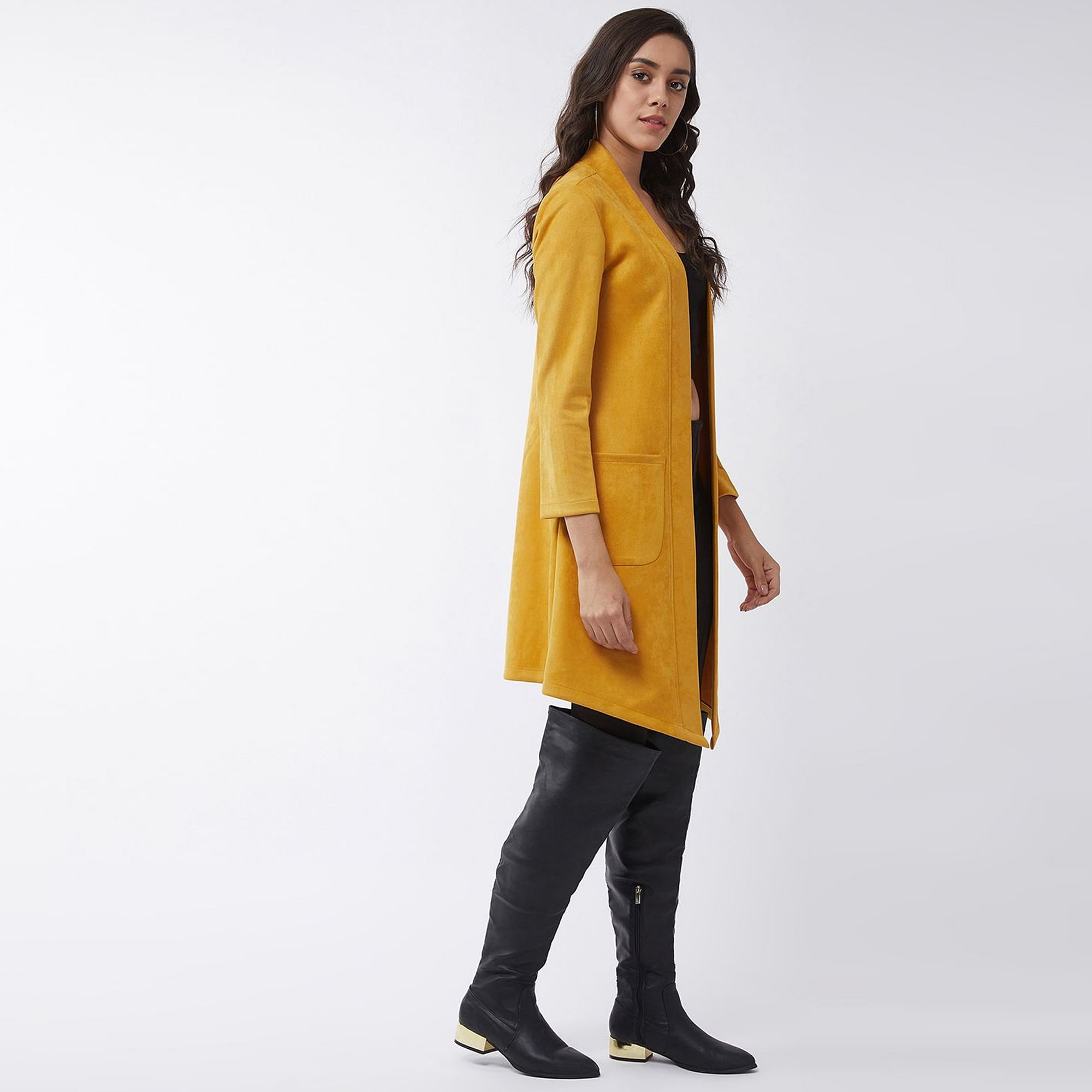 Pannkh - Women's Yellow Colored Solid Long Pointed Open Polyester Shrug