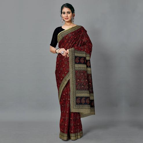 Desirable Dark Maroon Colored Casual Wear Printed Art Silk Saree