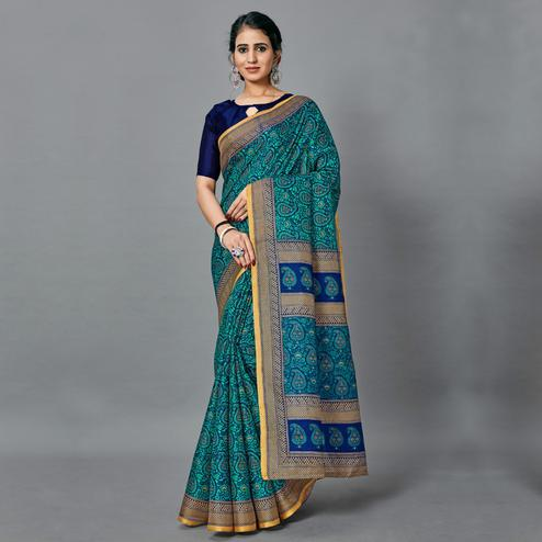 Exotic Light Blue Colored Casual Wear Printed Art Silk Saree
