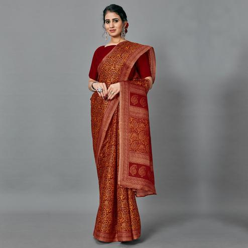 Sophisticated Dark Red Colored Casual Wear Printed Art Silk Saree