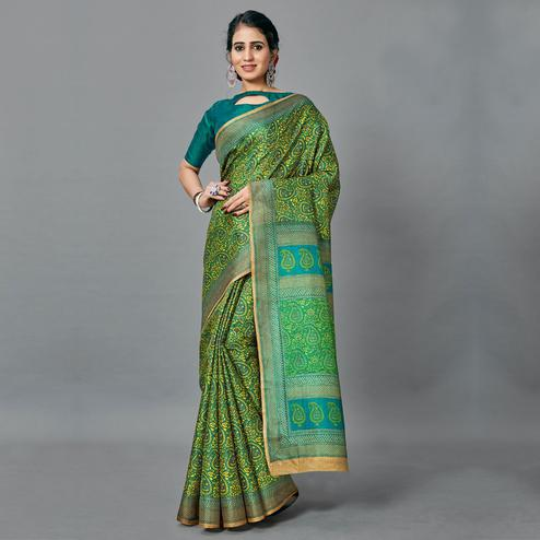 Trendy Green Colored Casual Wear Printed Art Silk Saree