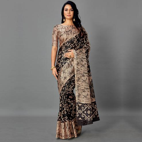 Elegant Grey - Black Colored Casual Wear Printed Art Silk Saree